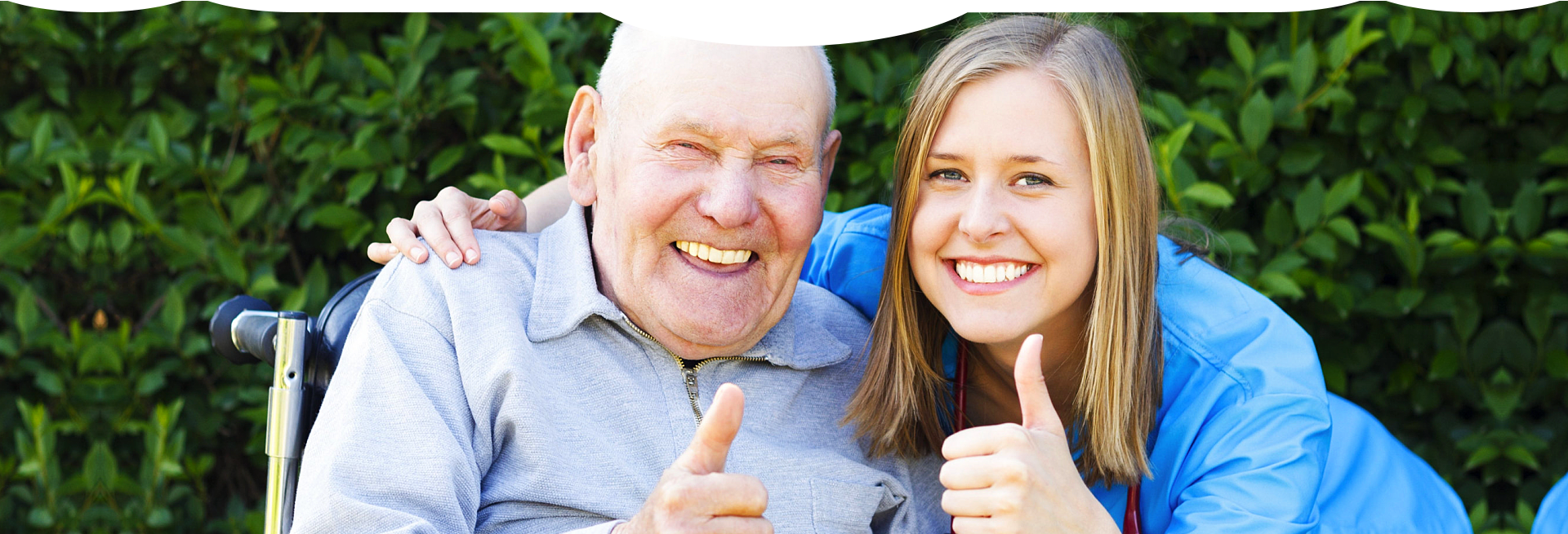 caregiver and patient doing a OK sign