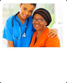 caregiver holding a patient